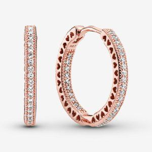Pandora Sparkle and Hearts Hoop Earrings